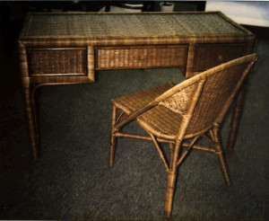 Wicker Desk and Chair Before