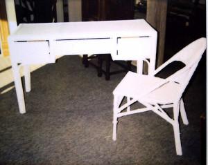 wicker desk & chair after